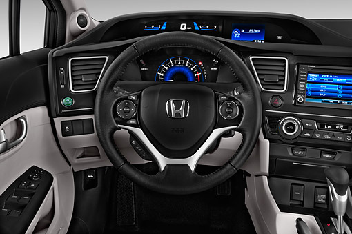 AUT 30 IZ3086 01 © Kimball Stock 2015 Honda Civic Sedan EX L Auto 4-Door Interior Detail