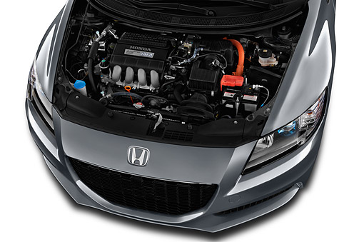 AUT 30 IZ3103 01 © Kimball Stock 2015 Honda CR-Z CVT 3-Door Hatchback Hybrid Engine Detail