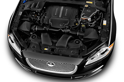 AUT 30 IZ3127 01 © Kimball Stock 2015 Jaguar XJ Series XJL Supercharged 4-Door Sedan Engine Detail