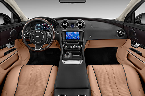 AUT 30 IZ3129 01 © Kimball Stock 2015 Jaguar XJ Series XJL Supercharged 4-Door Sedan Interior Detail