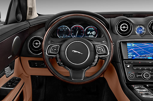 AUT 30 IZ3130 01 © Kimball Stock 2015 Jaguar XJ Series XJL Supercharged 4-Door Sedan Interior Detail