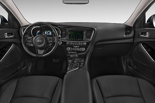 AUT 30 IZ3133 01 © Kimball Stock 2015 Kia Optima EX Hybrid 4-Door Sedan Interior Detail