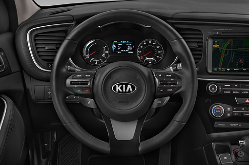 AUT 30 IZ3134 01 © Kimball Stock 2015 Kia Optima EX Hybrid 4-Door Sedan Interior Detail