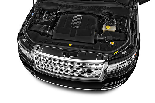 AUT 30 IZ3135 01 © Kimball Stock 2015 Land Rover Range Rover HSE 5-Door SUV Engine Detail