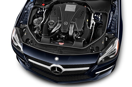 AUT 30 IZ3199 01 © Kimball Stock 2015 Mercedes Benz SL-Class SL550 2-Door Roadster Engine Detail