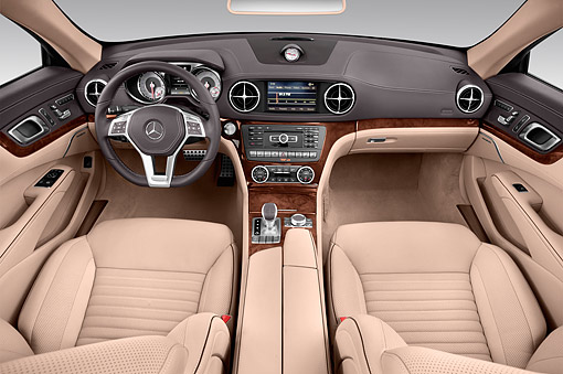 AUT 30 IZ3201 01 © Kimball Stock 2015 Mercedes Benz SL-Class SL550 2-Door Roadster Interior Detail