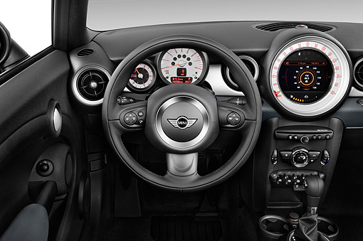AUT 30 IZ3214 01 © Kimball Stock 2015 Mini Cooper Base 2-Door Convertible Interior Detail