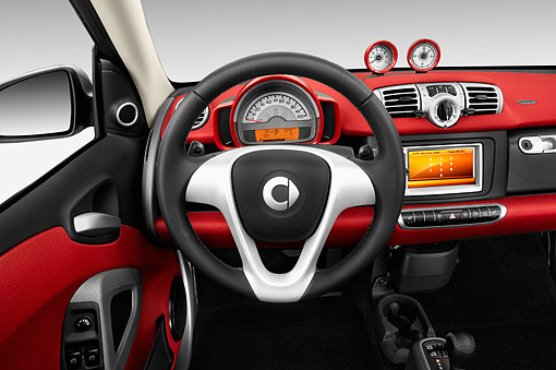 AUT 30 IZ3273 01 © Kimball Stock 2015 Smart Fortwo Passion Cabriolet 2-Door Interior Detail