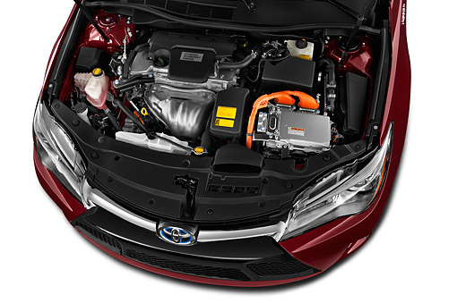 AUT 30 IZ3294 01 © Kimball Stock 2015 Toyota Camry 2.5 Auto SE Hybrid 4-Door Sedan Engine Detail