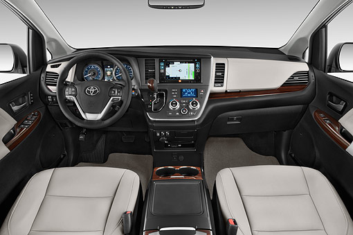 AUT 30 IZ3328 01 © Kimball Stock 2015 Toyota Sienna Limited V6 8 Passenger 5-Door Mini Van Interior Detail