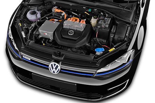 AUT 30 IZ3346 01 © Kimball Stock 2015 Volkswagen Golf E-Golf Sel Premium 5-Door Hatchback Engine Detail