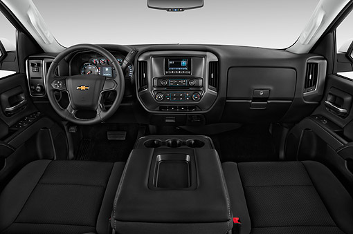 AUT 30 IZ3376 01 © Kimball Stock 2015 Chevrolet Silverado 2500 HD Work Truck Double Cab LWB 4-Door Interior Detail