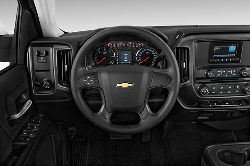 AUT 30 IZ3377 01 © Kimball Stock 2015 Chevrolet Silverado 2500 HD Work Truck Double Cab LWB 4-Door Interior Detail