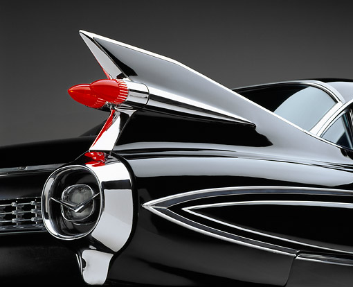 AUT 30 RK0022 02 © Kimball Stock 1959 Black Fleetwood 60 Special Cadillac Rear Tail Fin
