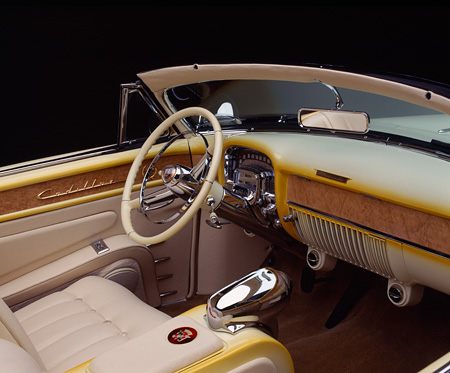 AUT 30 RK0072 01 © Kimball Stock 1953 Cadillac Eldorado Convertible Yellow Interior Detail
