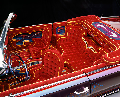 AUT 30 RK0822 08 © Kimball Stock 1963 Chevy Impala Lowrider Detail Interior Shot