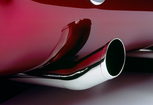 AUT 30 RK1869 02 © Kimball Stock 1932 Ford Custom Roadster Burgundy Detail Rear Exhaust Pipe
