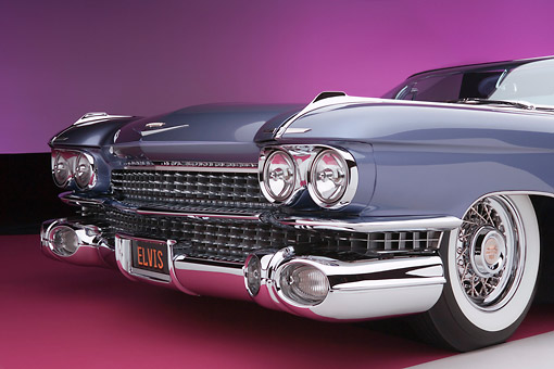 AUT 30 RK3076 01 © Kimball Stock 1959 Cadillac El Dorado Seville Cabriolet Lavender Detail Front Grill Headlights And Tire