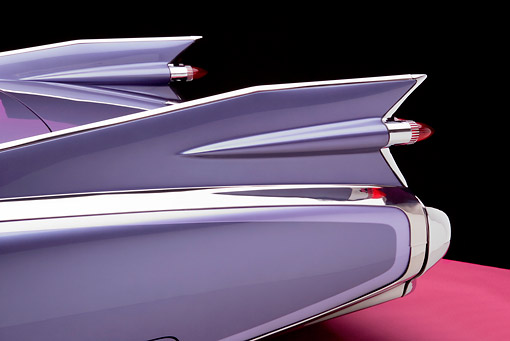 AUT 30 RK3077 01 © Kimball Stock 1959 Cadillac El Dorado Seville Cabriolet Lavender Detail Rear Fin And Brake Lights Studio