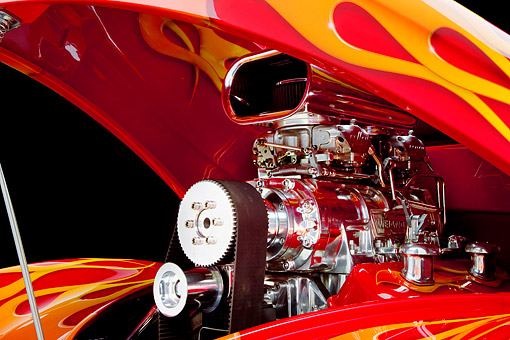 AUT 30 RK4122 01 © Kimball Stock 1941 Willys Coupe Hot Rod Red With Flames Engine Detail Studio