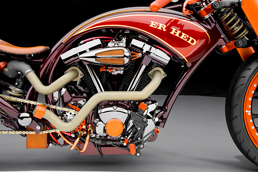 AUT 30 RK4684 01 © Kimball Stock 2004 AFT Customs Yamaha ER HED Custom Chopper Red And Orange Side Detail Studio