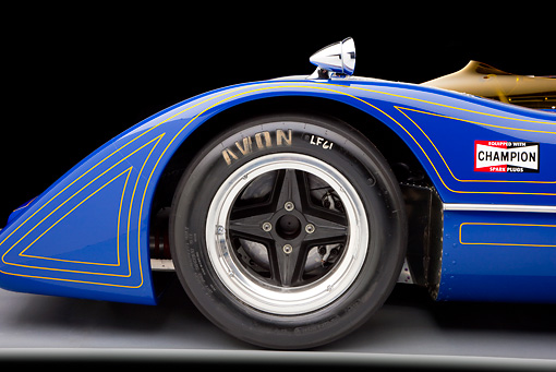 AUT 30 RK4731 01 © Kimball Stock 1967 McLaren M6A-03 Race Car Blue Front Wheel Detail Studio
