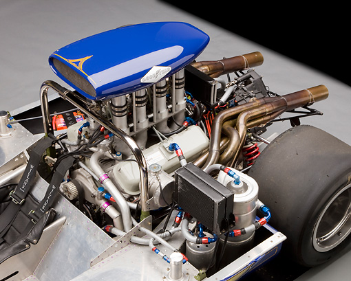 AUT 30 RK4732 01 © Kimball Stock 1967 McLaren M6A-03 Race Car Blue Engine Detail Studio