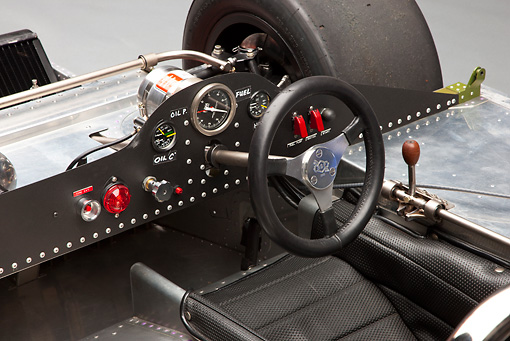 AUT 30 RK4734 01 © Kimball Stock 1967 McLaren M6A-03 Race Car Blue Interior Detail Studio