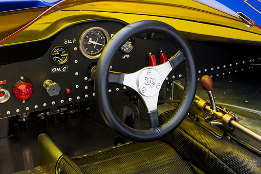 AUT 30 RK4735 01 © Kimball Stock 1967 McLaren M6A-03 Race Car Blue Interior Detail Studio