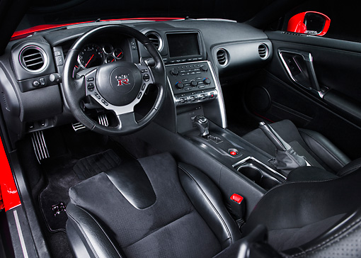 AUT 30 RK4770 01 © Kimball Stock 2010 Nissan GT-R Red Interior Detail Studio