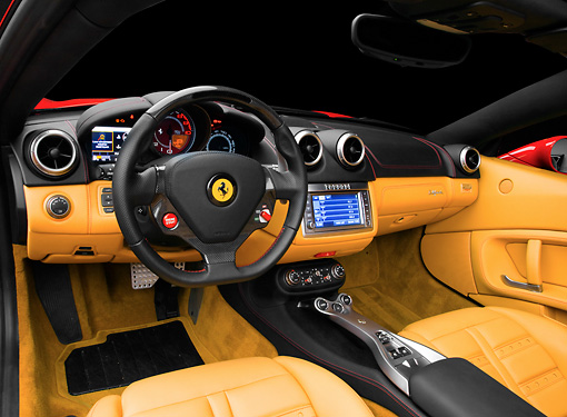 AUT 30 RK4775 01 © Kimball Stock 2009 Ferrari California Red Interior Detail Studio