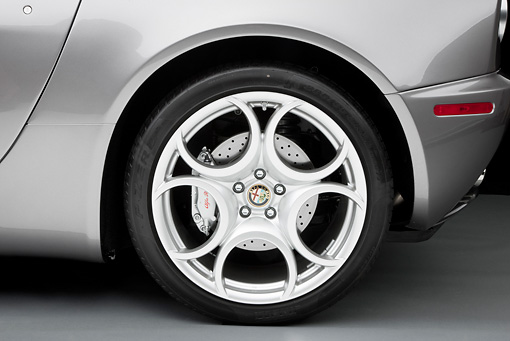 AUT 30 RK4782 01 © Kimball Stock 2008 Alfa Romeo 8C Competizione Gray Rear Wheel Detail Studio