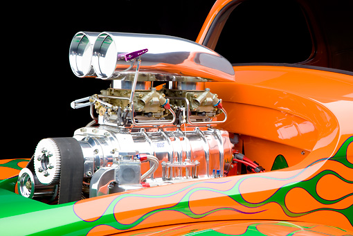 AUT 30 RK4788 01 © Kimball Stock 1941 Willys Coupe Hot Rod Orange And Green Engine Detail Studio
