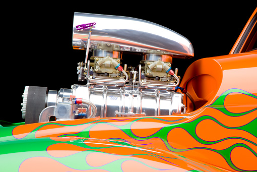 AUT 30 RK4789 01 © Kimball Stock 1941 Willys Coupe Hot Rod Orange And Green Engine Detail Studio