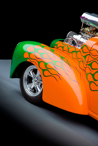 AUT 30 RK4791 01 © Kimball Stock 1941 Willys Coupe Hot Rod Orange And Green Front Detail Studio