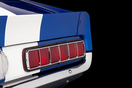 AUT 30 RK4798 01 © Kimball Stock 1965 Ford Mustang Pro Street Blue With White Stripes Brake Light Detail Studio