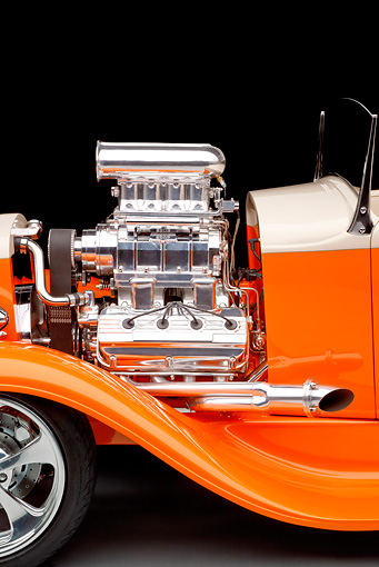 AUT 30 RK4809 01 © Kimball Stock 1931 Ford Model A Roadster Pickup Truck Hot Rod Orange And Cream Engine Detail Studio