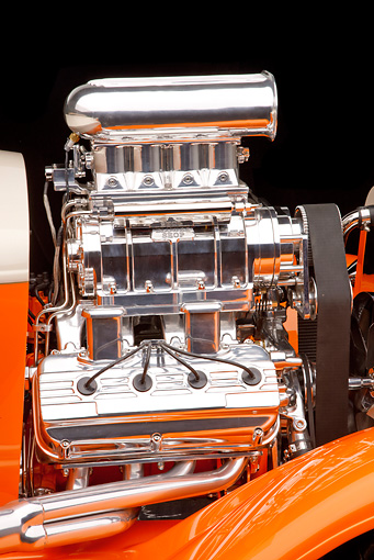 AUT 30 RK4810 01 © Kimball Stock 1931 Ford Model A Roadster Pickup Truck Hot Rod Orange And Cream Engine Detail Studio