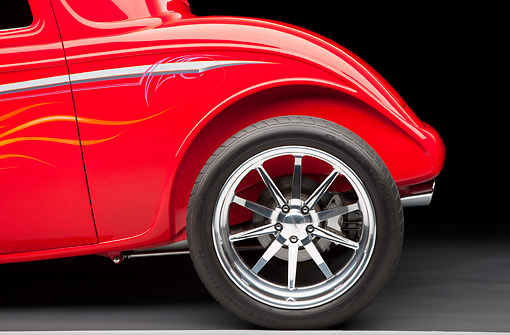 AUT 30 RK4822 01 © Kimball Stock 1933 Ford Hi-Boy Coupe Hot Rod Red Rear Wheel Detail Studio