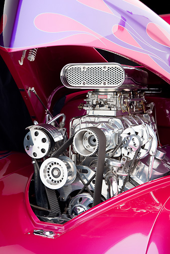 AUT 30 RK4831 01 © Kimball Stock 1941 Willys Coupe Hot Rod Raspberry Engine Detail Studio