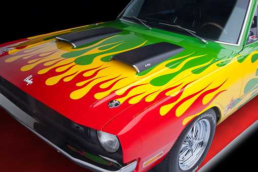 AUT 30 RK4940 01 © Kimball Stock 1970 Dodge Dart Hot Rod Red, Yellow, Green Hood Detail Studio
