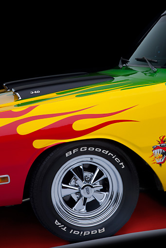 AUT 30 RK4944 01 © Kimball Stock 1970 Dodge Dart Hot Rod Red, Yellow, Green Front Detail Studio