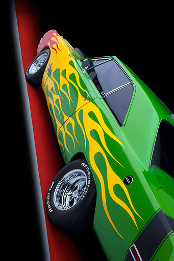 AUT 30 RK4945 01 © Kimball Stock 1970 Dodge Dart Hot Rod Red, Yellow, Green Side Detail Studio