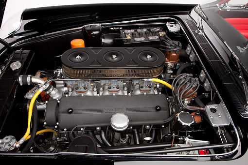 AUT 30 RK4981 01 © Kimball Stock 1962 Ferrari 400 Superamerica Convertible Black Engine Detail Studio