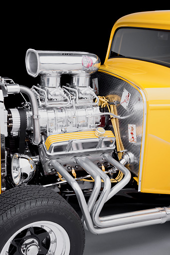 AUT 30 RK4998 01 © Kimball Stock 1932 Ford 3 Window Coupe Hot Rod Yellow With Flames Engine Detail Studio