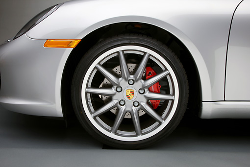 AUT 30 RK5024 01 © Kimball Stock 2010 Porsche Boxster S Convertible Silver Front Wheel Detail Studio