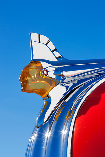 AUT 30 RK5026 01 © Kimball Stock 1941 Pontiac Coupe Red Hood Ornament Detail