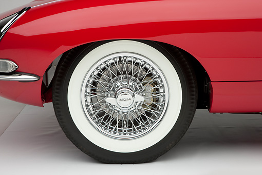 AUT 30 RK5114 01 © Kimball Stock 1966 Jaguar XKE Coupe Red Front Wheel Detail Studio