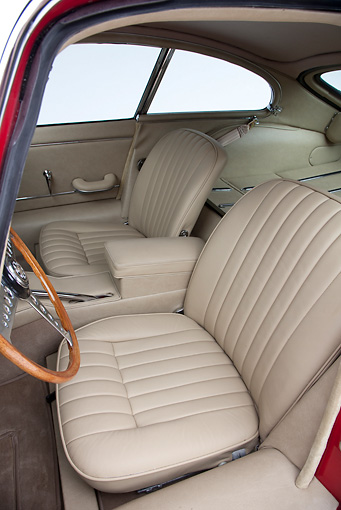 AUT 30 RK5116 01 © Kimball Stock 1966 Jaguar XKE Coupe Red Interior Detail Studio