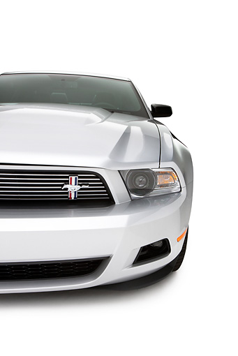 AUT 30 RK5170 01 © Kimball Stock 2011 Ford Mustang V6 Silver With Black Stripe Front Detail On White Seamless